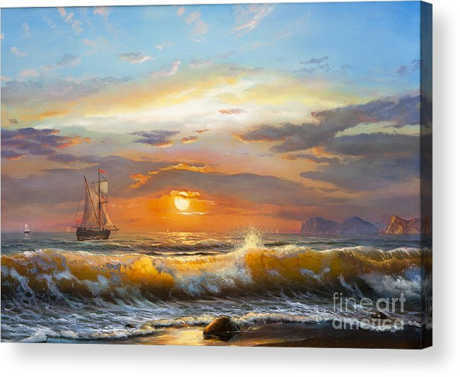Fine Arts Acrylic Print featuring the photograph Oil Painting On Canvas , Sailboat by Liliya Kulianionak