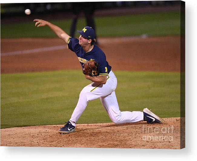 Relief Pitcher Acrylic Print featuring the photograph Michigan V Ucla - Game One by Jayne Kamin-oncea