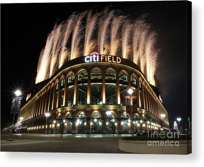 American League Baseball Acrylic Print featuring the photograph Miami Marlins V New York Mets by Christopher Pasatieri