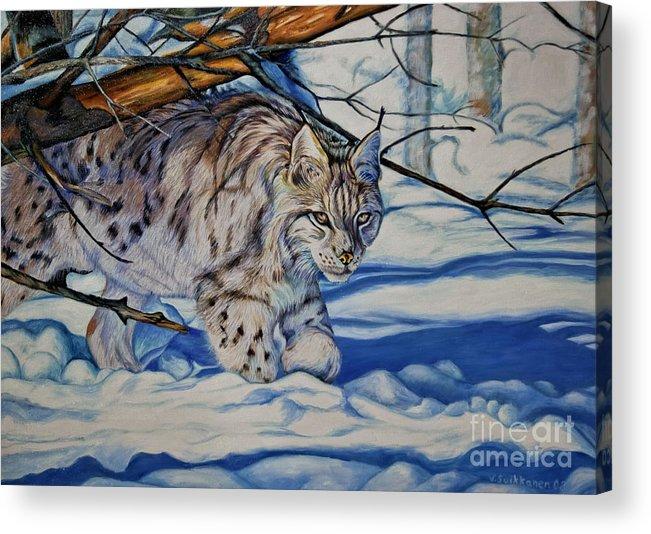 Animal Acrylic Print featuring the painting Quiet Walker by Veikko Suikkanen