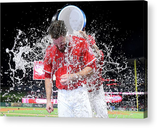 Three Quarter Length Acrylic Print featuring the photograph Texas Rangers V Los Angeles Angels Of by Jayne Kamin-oncea