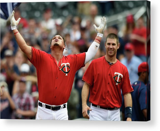 Oswaldo Arcia Acrylic Print featuring the photograph Oswaldo Arcia And Joe Mauer by Hannah Foslien