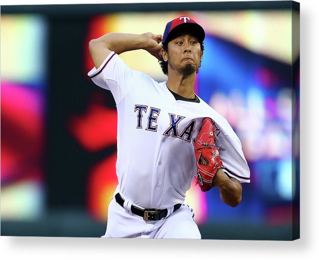 American League Baseball Acrylic Print featuring the photograph Yu Darvish by Elsa