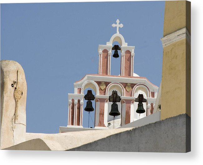 Greece Acrylic Print featuring the photograph Bells Of Santorini by Charles Ridgway