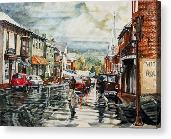 Rural Town Acrylic Print featuring the painting Looking North by Thomas Akers