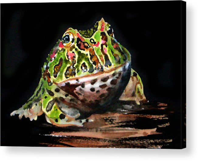 Bells Horned Frog Acrylic Print featuring the painting Puffy by Gina Hall