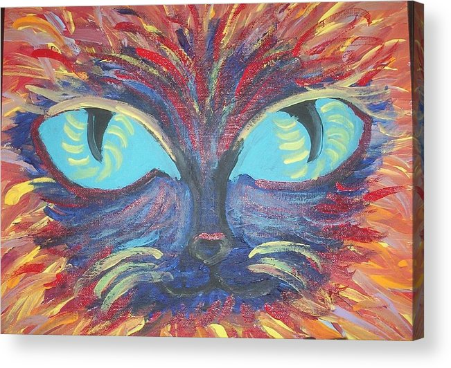Cats Acrylic Print featuring the painting ICU by Lindsay St john