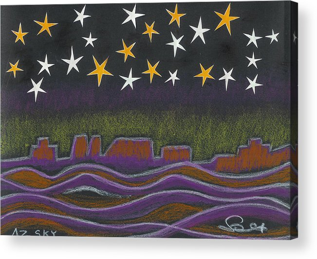Sky Acrylic Print featuring the drawing Twighlight Over Arizona Horizon by Ingrid Szabo