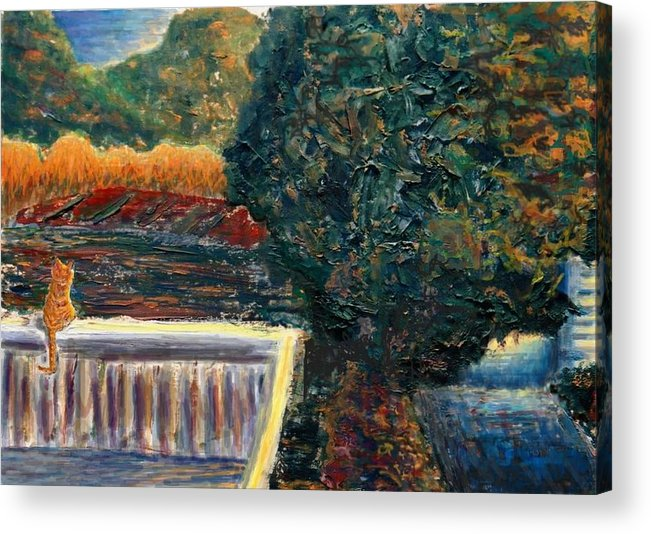 Oil Acrylic Print featuring the painting Last Rays by Cynthia Ann Swan