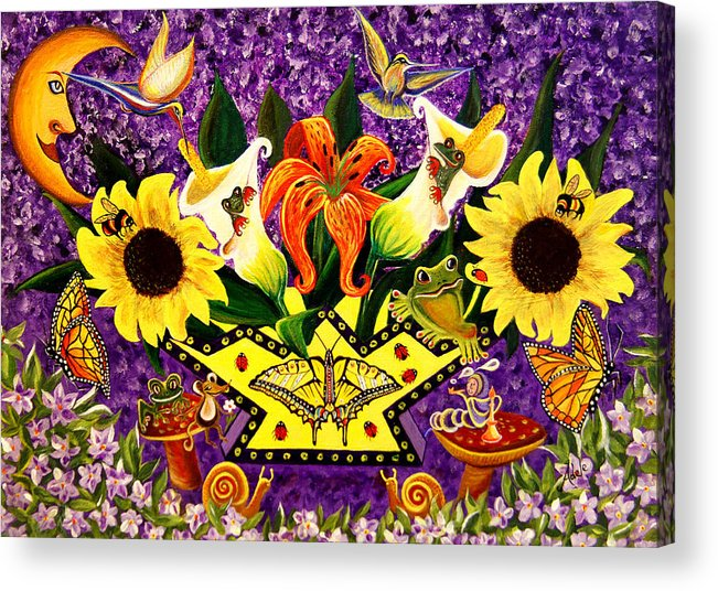 Folk Art Acrylic Print featuring the painting All Gods Creatures by Adele Moscaritolo