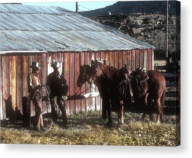 Cowboy Acrylic Print featuring the photograph Smoke Break by Jerry McElroy