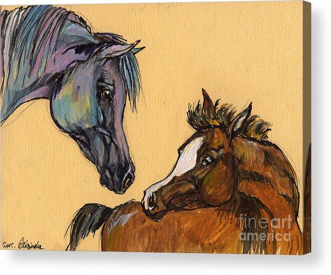 Horse Acrylic Print featuring the painting Motherhood by Angel Ciesniarska