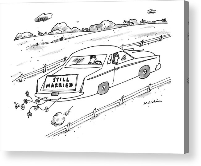 (a Couple Driving A Car With A Sign On The Back Of The Car.) Marriage Acrylic Print featuring the drawing A Couple Driving A Car With A Still Married Sign by Michael Maslin