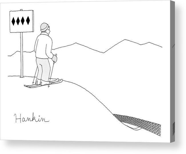Captionless Acrylic Print featuring the drawing A Man Stands At The Top Of A Ski Slope by Charlie Hankin