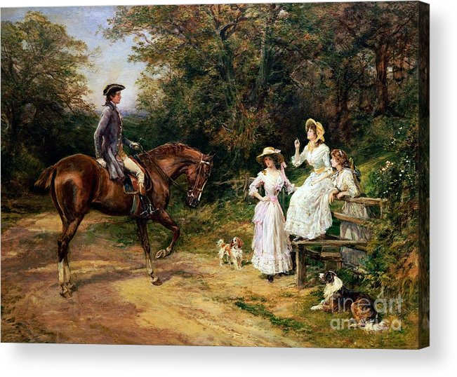 Meeting; Stile; Rural; Countryside; Road; Traveller; Rider; Male; Horse; Mounted; Horseback; Female; Walk; Walking; Polite; Greeting; Dogs; 18th; Girls; Gentleman; Romance; Romantic; Politeness; Society Life; 19th; 20th; Dirt Road; Path Acrylic Print featuring the painting A Meeting By A Stile by Heywood Hardy