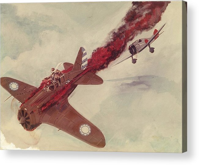 Air Combat Acrylic Print featuring the painting Air Combat by Richard La Motte