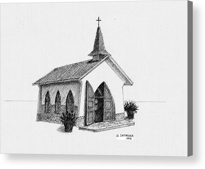 Chapel Acrylic Print featuring the drawing Alto Vista Chapel - Aruba by Al Intindola