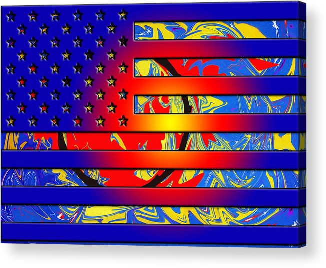 American Flags Acrylic Print featuring the painting And The Flag Still Stands by Robert Margetts
