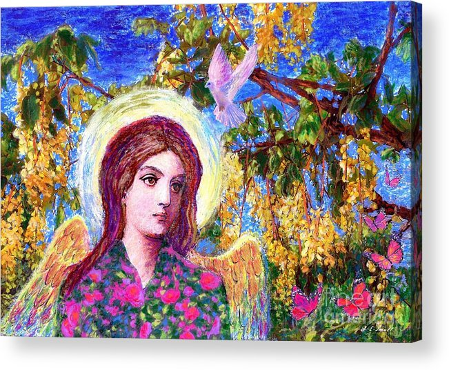 Angel Acrylic Print featuring the painting Angel Love by Jane Small