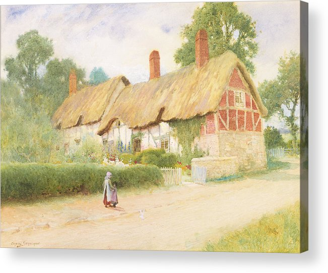 Tudor Acrylic Print featuring the painting Ann Hathaway's Cottage by Arthur Claude Strachan