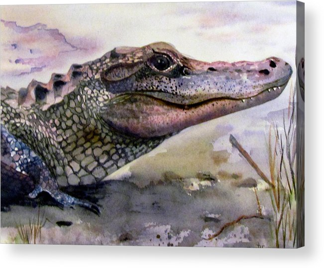 Alligator Acrylic Print featuring the painting Art by Susan Duxter