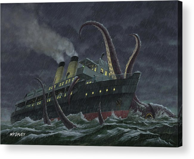 Squid Acrylic Print featuring the painting Attack Of Giant Squid by Martin Davey