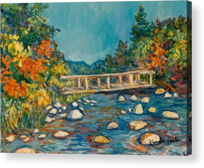 Kendall Kessler Acrylic Print featuring the painting Autumn Bridge by Kendall Kessler
