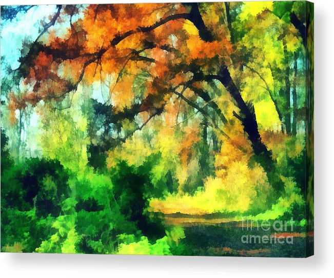 Odon Acrylic Print featuring the painting Autumn In The Woods by Odon Czintos