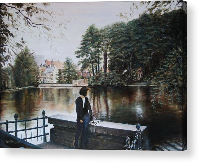 Water Acrylic Print featuring the painting Belgium Reflections In Water by Jennifer Lycke