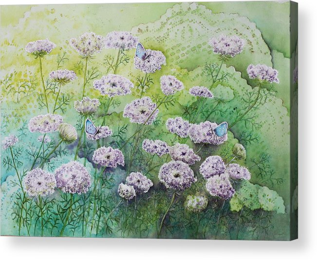 Butterflies Acrylic Print featuring the painting Blue Butterflies by Patsy Sharpe