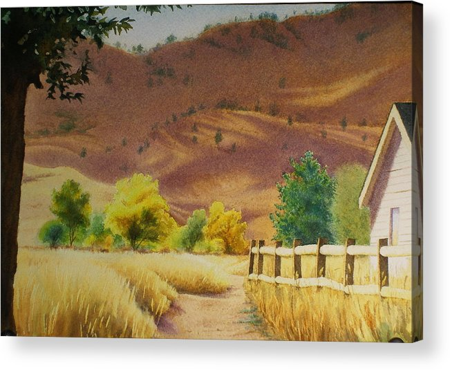 Watercolor Acrylic Print featuring the painting Boulder Foothills In Autumn by Daniel Dayley