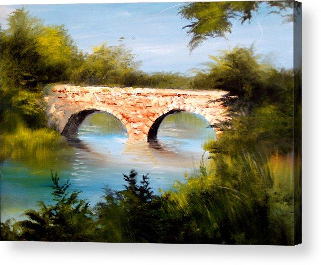 Landscape Acrylic Print featuring the painting Bridge Under El Dorado Lake by Robert Carver