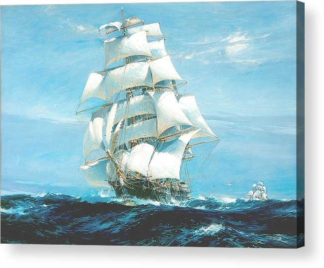 Painting Acrylic Print featuring the painting China Tea Clippers Race by Mountain Dreams