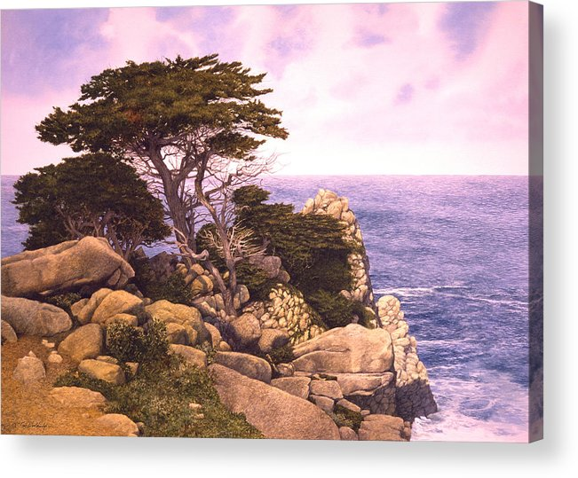Seascape Acrylic Print featuring the painting Coast At Lobos by Tom Wooldridge