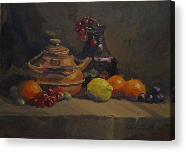 Oil Acrylic Print featuring the painting Copper Tea Pot And Fruit by Karen Fess