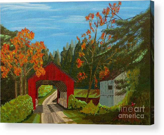 Path Acrylic Print featuring the painting Covered Bridge by Anthony Dunphy