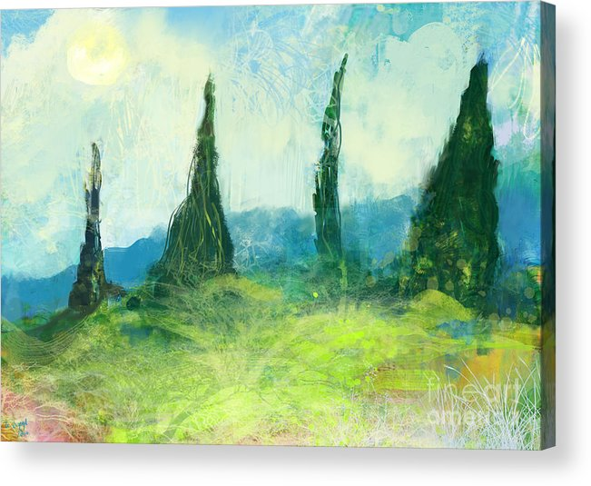 Digital Acrylic Print featuring the painting Cypress Trees On A Hill Side by George Sneyd