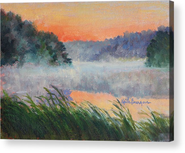 Impressionism Acrylic Print featuring the painting Dawn Reflection Study by Keith Burgess