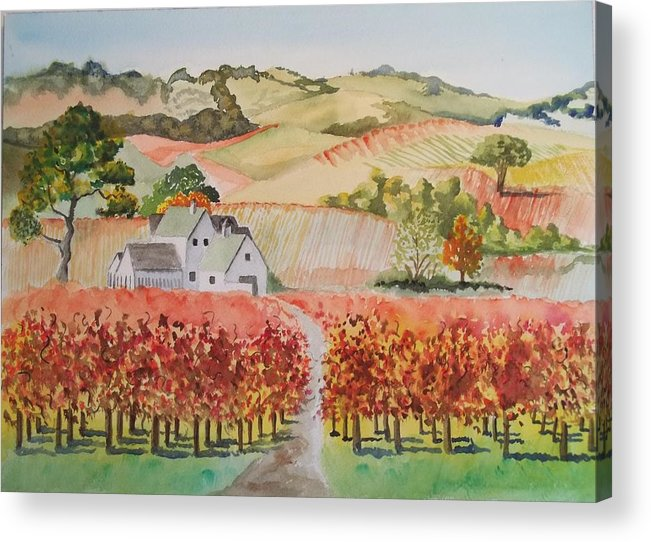 Watercolor Landscape Acrylic Print featuring the painting Driving Through Paso Robles by Terry Godinez