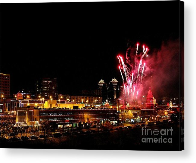 Plaza Lights Acrylic Print featuring the photograph Fireworks Over The Kansas City Plaza Lights by Catherine Sherman
