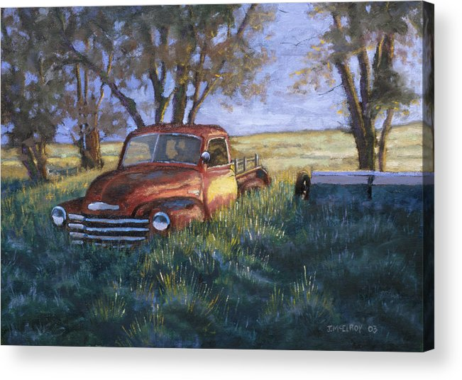 Pickup Truck Acrylic Print featuring the painting Forgotten But Still Good by Jerry McElroy