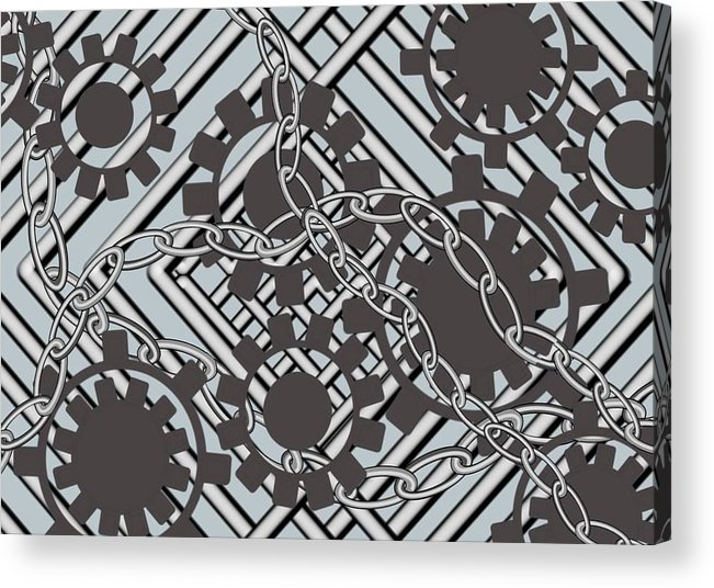Motor Acrylic Print featuring the digital art Gears And Chains by Carol Shoemaker