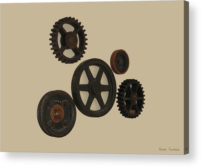 Gear Acrylic Print featuring the photograph Gears And Pulleys by Renee Trenholm