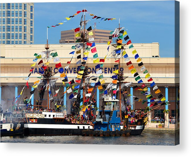 Tampa Convention Center Acrylic Print featuring the photograph Tampa Convention Center And Gasparilla by David Lee Thompson