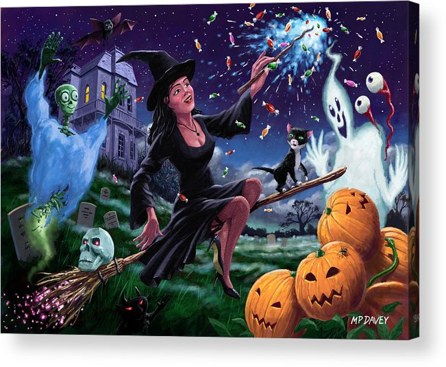 Halloween Acrylic Print featuring the painting Happy Halloween Witch With Graveyard Friends by Martin Davey