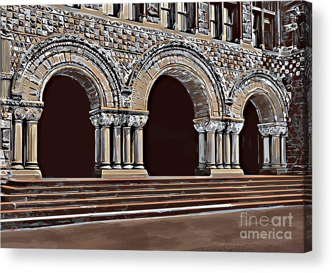 Studying Acrylic Print featuring the painting Harvard Entrance To Law School  C1900 by Andrzej Szczerski