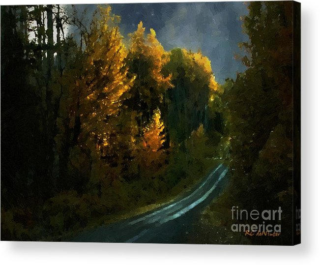 Landscape Acrylic Print featuring the painting Harvest Moon Another Starry Night by RC DeWinter