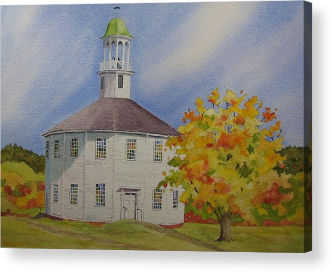 Richmond Acrylic Print featuring the painting Historic Richmond Round Church by Mary Ellen Mueller Legault