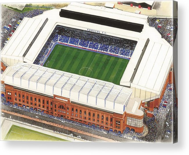 Glasgow Acrylic Print featuring the painting Ibrox Stadium by Kevin Fletcher