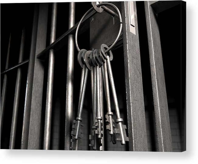 Jail Acrylic Print featuring the digital art Jail Cell With Open Door And Bunch Of Keys by Allan Swart